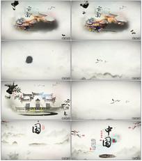 中国风旅行风景图文水墨片头AE模板