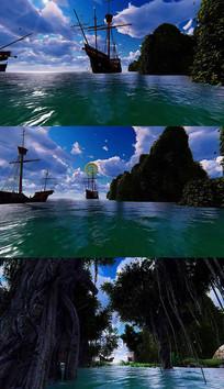 3D海洋穿梭背景视频素材 mov