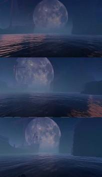 3D夜晚海洋圆月背景视频素材
