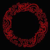 龙纹圆形花边边框
