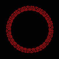 如意纹圆形花边边框