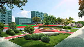 校园景观3D效果psd