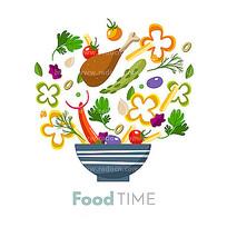 装进碗里的鸡腿和蔬菜 AI