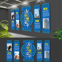 蓝色大气企业古典文化墙