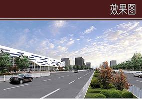 行政中心道路景观效果图
