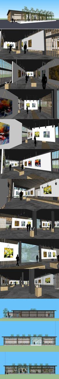 竹艺博物馆室内设计SU模型