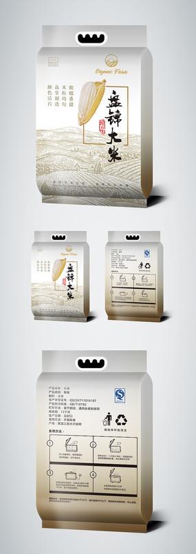 简约时尚大米包装袋设计模板