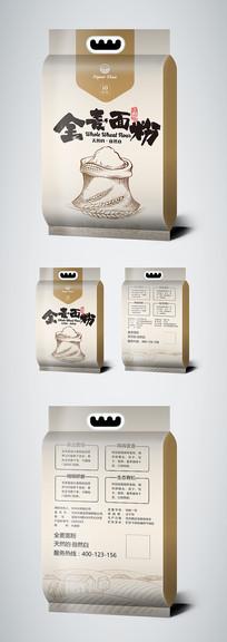金色全麦面粉包装袋设计模板