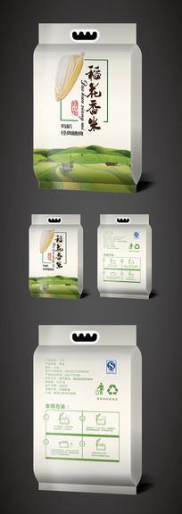 绿色简约稻花香米包装袋设计