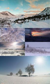 冬季雪景荒原高清视频素材
