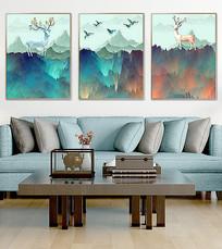 麋鹿水彩装饰画