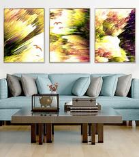 新中式抽象油画北欧客厅装饰画