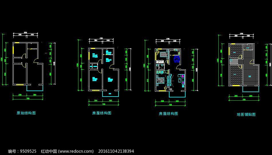 cad二室一厅平面图