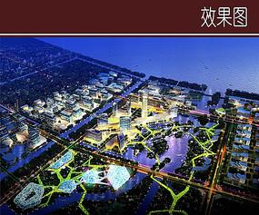 城市景观夜景效果图