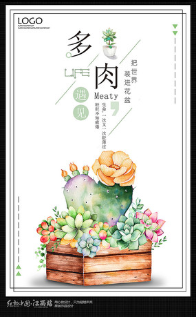 多肉植物花店促销海报