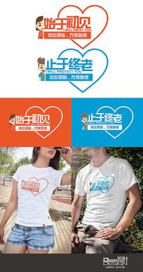 情侣装T恤图案设计AI矢量