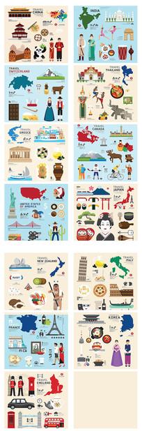 世界风情画插图