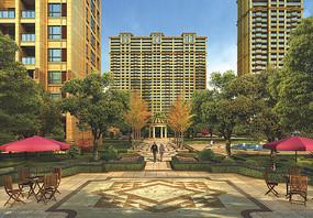 现代建筑庭院小区绿化效果图