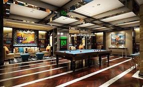 休闲娱乐区台球桌