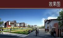 中式产业园内景效果图