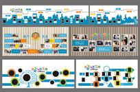 精致学校文化连廊照片墙面设计