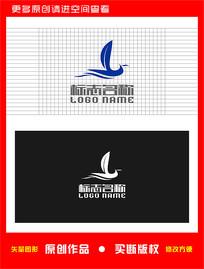 Y叶子飞鸟航海帆船logo