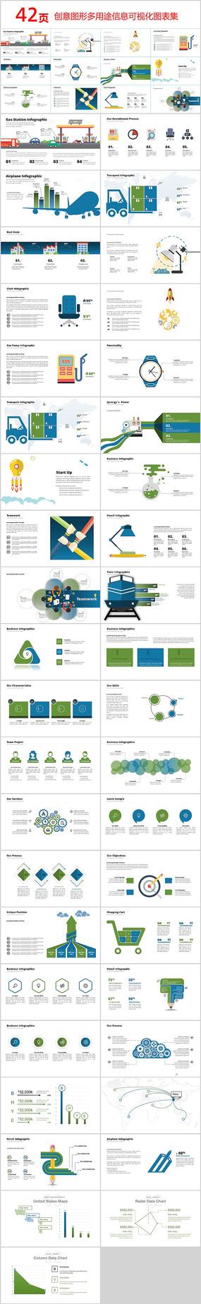 创意图形多用途信息PPT图表 pptx