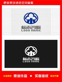朵云标志科技建筑logo