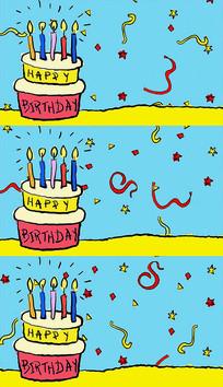 生日蛋糕庆生卡通背景视频素材