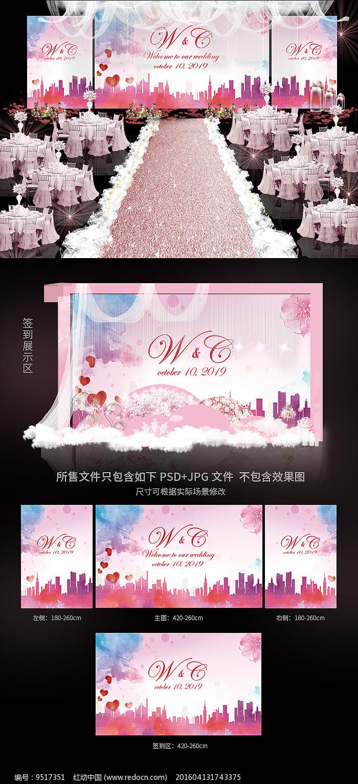 浪漫唯美婚礼现场背景效果图图片