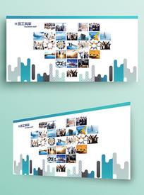 蓝色创意时尚企业照片墙形象墙