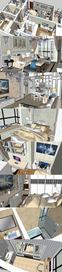 欧式豪华三室两厅SU模型