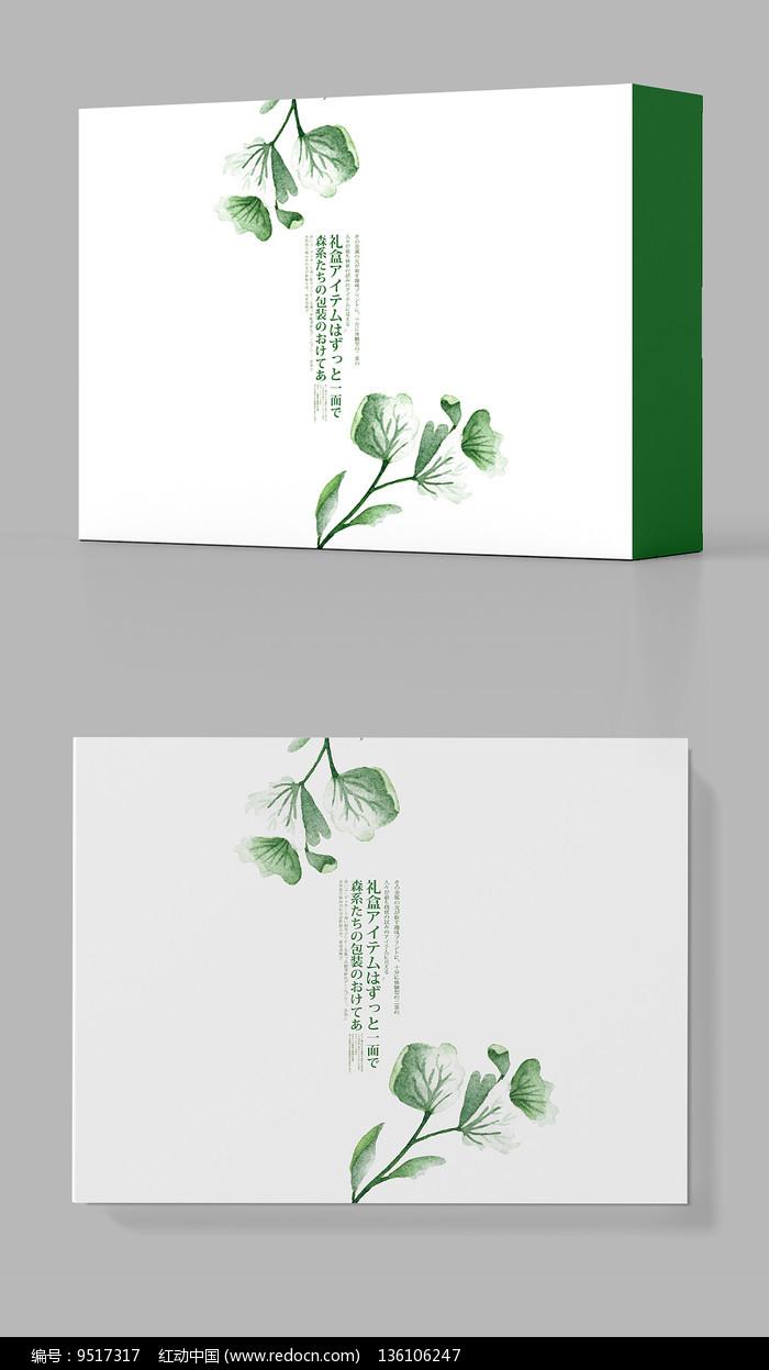 水墨绿色花卉包装盒设计图片