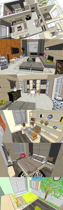 现代田园风格家庭装饰SU模型