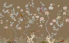 新中式工笔花鸟图背景墙