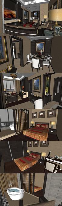 新中式家装全套SU模型