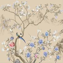 新中式手绘花鸟图背景墙