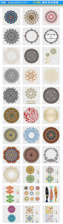 圆形花纹图案png素材