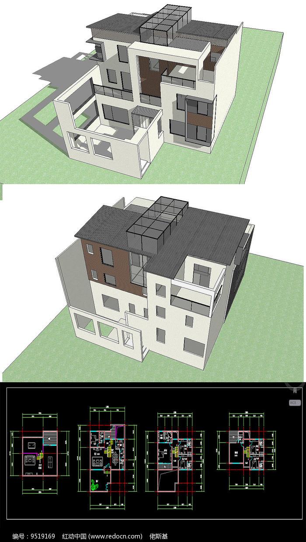 中式别墅草图SU模型含CAD图片