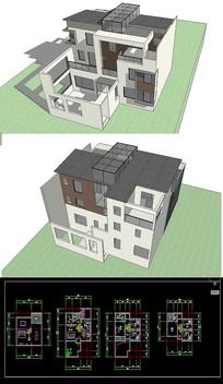 中式别墅草图SU模型含CAD