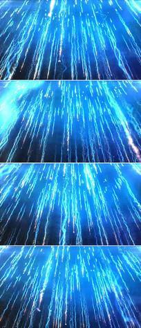 蓝色粒子光线下落视频