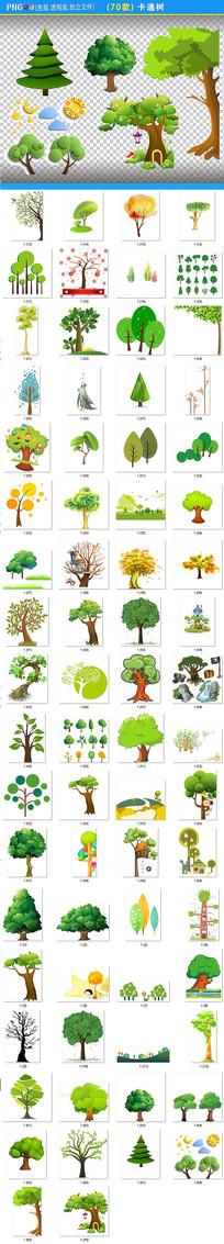 手绘卡通树png素材
