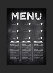 手绘西餐厅菜谱菜单设计