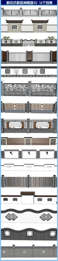 新中式围墙su景观柱 skp