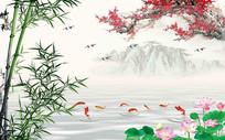 中式梅花竹子九鱼背景墙