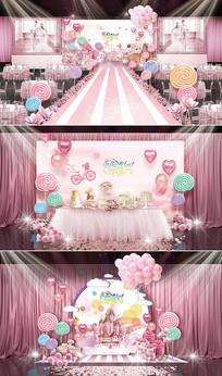 粉色糖果主题婚礼 PSD