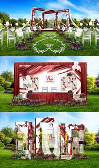 红白户外主题婚礼 PSD