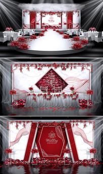 红白色调主题婚礼 PSD