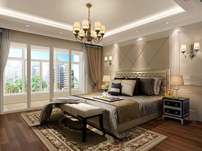 3d室内卧室现代风格效果图