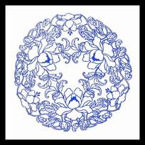 青花瓷牡丹圆形图案